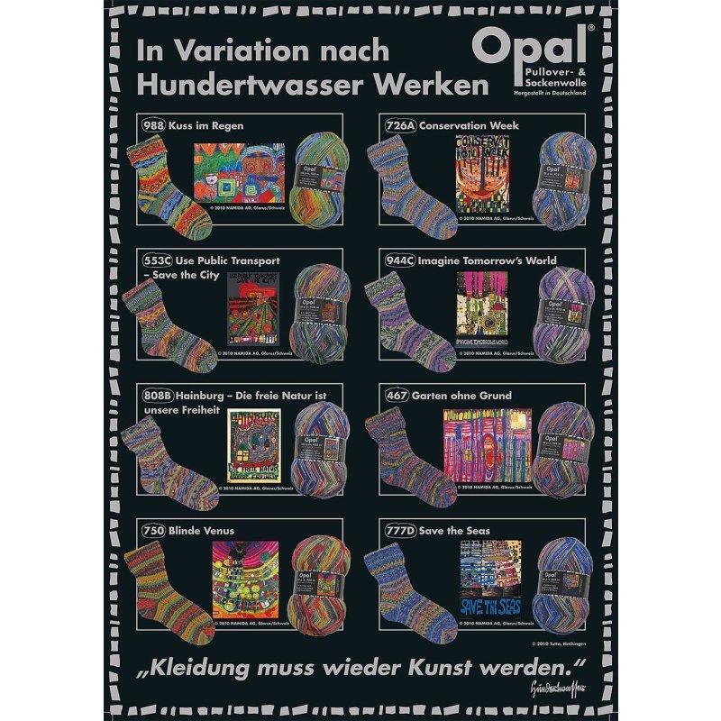 Opal Hundertwasser 4fach Kuss im Regen Sockenwolle 100 g